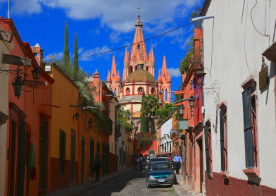 MexicoMainlandSanMiguelDeAllendeStreetWithCathedralView